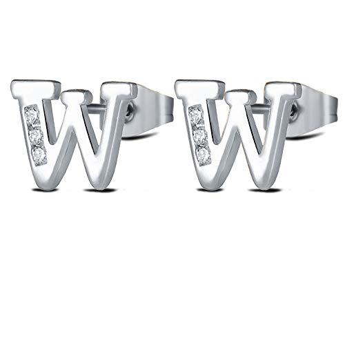 Letter W Earrings Alphabet Silver Initial Letter Studs for Women Girls Tiny Stainless Steel Hypoallergenic Sensitive Ears