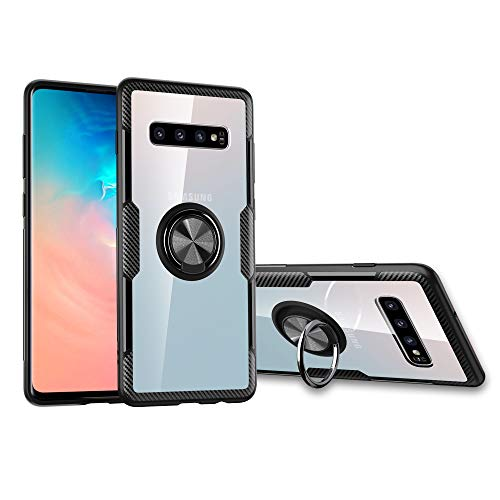 Orzero TPU + PC Hybrid Dual Layer Case for Samsung Galaxy S10 Full Body Protection 360 Rotating Metal Ring [Adsorbed Iron Plate] [Work with Magnetic Car Mount]-Clear Black