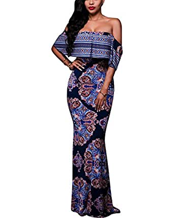 BIUBIU Women's Elegant Off Shoulder Floral Party Bodycon Maxi Dress Retro Blue S