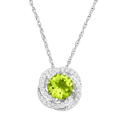 2 1/3 ct Natural Peridot & Created White Sapphire Pendant Necklace in Sterling Silver