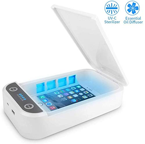Aromatherapy Function Disinfector Cell Phone Cleaners Sanitizer Box for iOS Android Smartphones Or More UV Cell Phone Sanitizer Portable USB UV Light Sterilizer