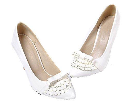 enfiler blancs en Escarpins pour VogueZone009 PU Talons hauts femmes solides Chaussures à qwHzPT