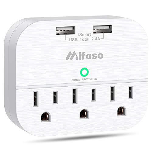 3-Outlet Surge Protector Power Strip, Multi Plug Outlet Extender with 2 USB Charging Ports 2.4 A, Portable Travel Wall Adapter - 490Joules White from mifaso