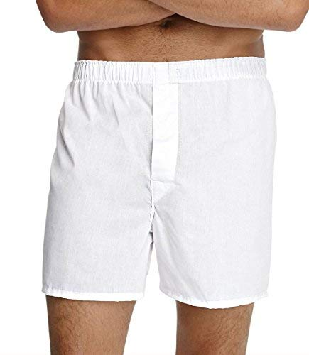 Hanes Men's TAGLESS Full-Cut Boxer with Comfort Flex Waistband 4-Pack_White_X-L ()