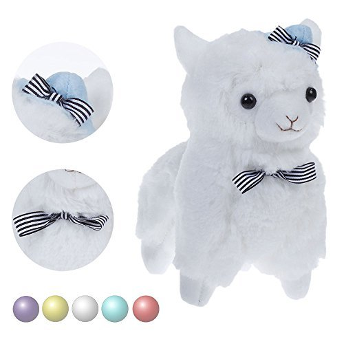 "KSB 7.3"" White Bow Tie And Hat Plush Alpaca,100% Plush Stuffed Animals Doll Toys,Best Birthday Gifts For The Children Kids"
