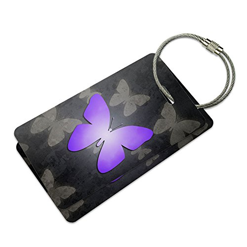 - Purple Butterfly Butterflies Suitcase Bag ID Luggage Tag Set