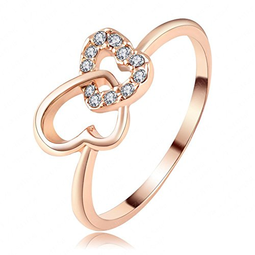 (FENDINA Womens Jewelry Luxurious 18K Rose Gold Plated Cubic Zirconia 2 Filigree Heart Cross Promise Eternity Ring Engagement Wedding Anniversary Band Her)