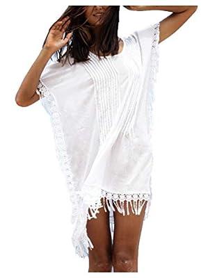 Wander Agio Womens Bohemia Printing Top Beach Bikini Cover-ups White