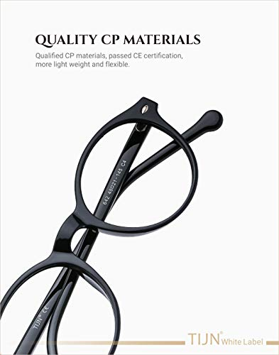 TIJN Men Women Classic Round Non-prescription Glasses Frosted Eyeglasses Frames