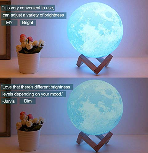 ACED 3D Printed Moon Lamp, LED 16 Colors RGB Moon Night Light Lamp, Remote & Touch Control, Dimmable, Color Changing, USB Recharge, Seamless Lunar Moonlight Lamp with Stand for Baby Bedrooms, 7.1Inch