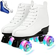 Roller Skates for Women Men High-top PU Leather Roller Skates Shiny Four Wheels Roller Skates White Black Roll