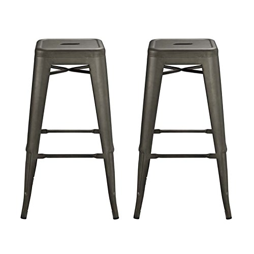 Modway Promenade Modern Aluminum Two Bistro Bar Stool Set in Brown