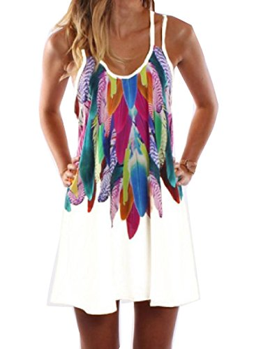 Coolred XS Slip White Dress Big Women Sun Dress Sleeveless Hem Printed Sexy UxwfarZqUg