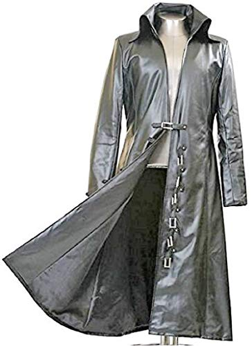 Gothic_Master Black Faux Leather Long Trench Coat (M)