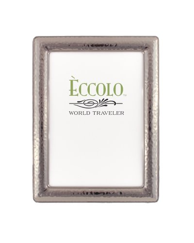 Eccolo World Traveler Gunmetal Plated Frame, Holds 5 by 7-Inch Photo, Narrow Hammered