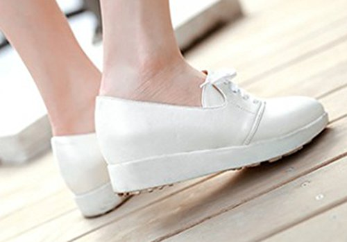Sfnld Womens Wedge Heel Pointy Toe Lace Up Sneakers White