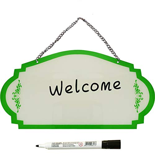 PLAFUETO Blank Acrylic Hanging Sign Double Sided Hanging Chalkboard Signs with Chain & Hook Writable Home Plaque Garden Bar Cafe Shop Store Front Door Decoration Green
