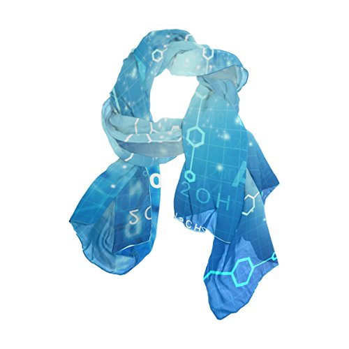 WellLee Custom Oblong Chiffon Scarf, Abstract Molecules Science Technology Shawl Wrap Sheer Scarves for Outdoor ()