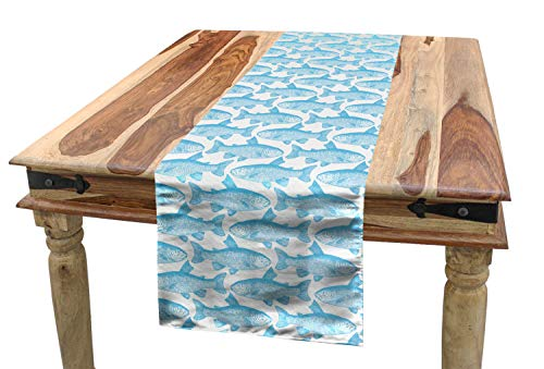 - Ambesonne Fish Table Runner, Ichthyologist Sketch of an Arctic Char Displayed in Lines Single Color Design on White, Dining Room Kitchen Rectangular Runner, 16