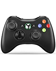 VOYEE Controller Replacement for Xbox 360 Controller, Wireless Upgraded Controller with Dual Shock/Headset Port Compatible with Microsoft Xbox 360/ Slim (Black)