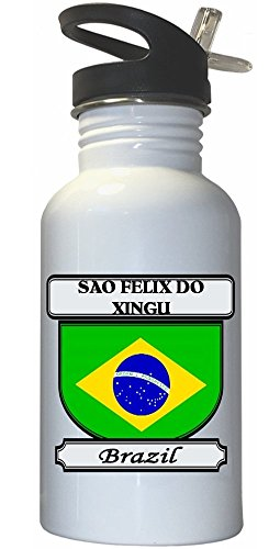 sao-felix-do-xingu-brazil-city-white-stainless-steel-water-bottle-straw-top