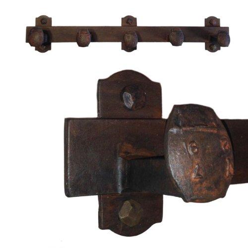 Cobre Railroad Spike Coat Rack 5 Hook, Blackened Bronze Hand Rubbed Finish (Blackened Iron)