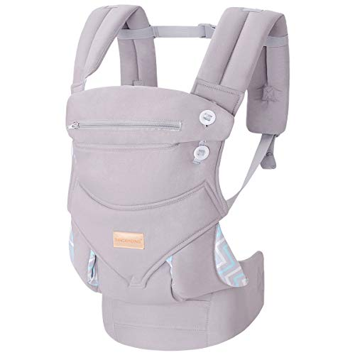 Great Features Of Infant Baby Holder Carrier Backpack Ergonomic with Head Support Padded Shoulder Straps Front and Back for Newborn Toddler Wrap in All Season,Grey