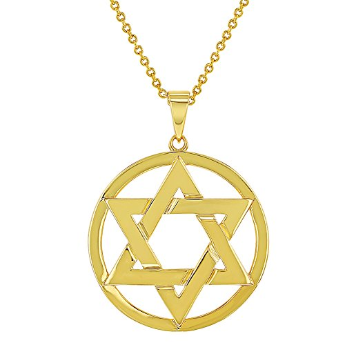 In Season Jewelry 18k Gold Plated Star of David Jewish Religious Pendant Necklace for Women 19