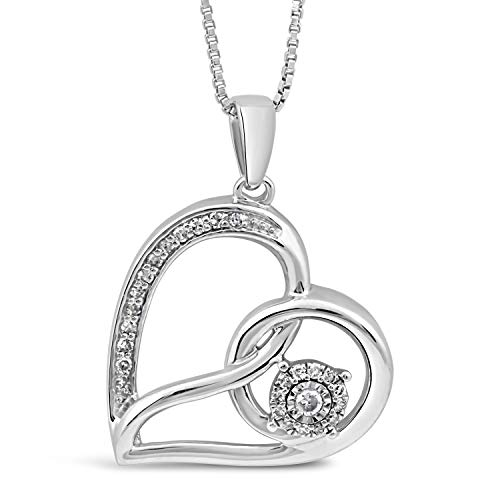 - Diamond Heart Necklace in Sterling Silver
