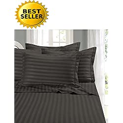 Elegant Comfort #1 Bed Sheet Set on Amazon - Super Silky Soft - 1500 Thread Count Egyptian Quality Luxurious Wrinkle, Fade, Stain Resistant 6-Piece STRIPE Bed Sheet Set, Queen Gray