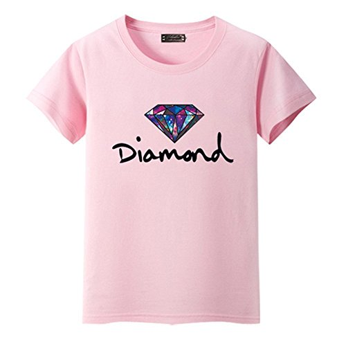 KDHJJOLY Comfortable Womens Girls Short-Sleeve Cotton T-Shirt PinkLarge=US M Effective - H And Kids Nyc M