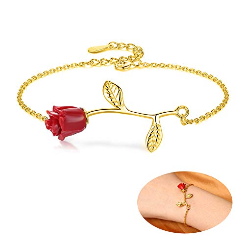 Real Red Rose Pendant - MUZHE Charm 3D Red Rose Flower Pendant Necklace, Romantic Rose Gift for Women, Beauty and The Beast Rose Jewelry, Gardeners Necklace (Gold Bracelet)