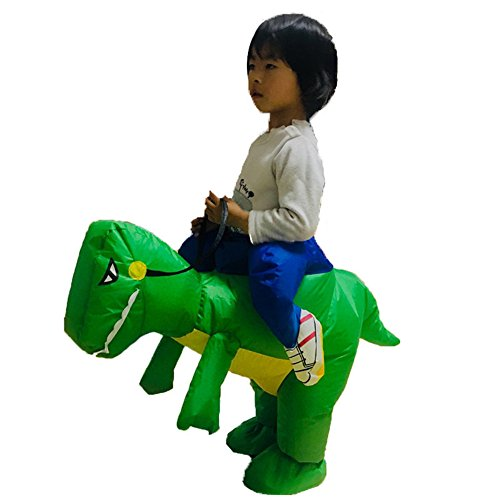 ANOTHERME Dinosaur Riding T-REX Inflatable Fancy Dress Holiday Party Blow Up Costume for Adults Or Child Green ()