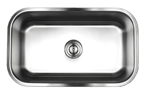 (Contempo Living 18-960 30 inch 18 Gauge Stainless Steel Undermount Single Bowl Kitchen Sink 10 inch Deep, )