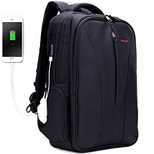 Uoobag Business Backpack for 15.6 16 Inch Laptop with USB Charging Port Anti-theft Travel Computer Bag Black
