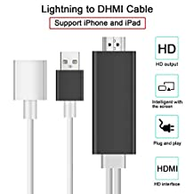 Lightning to HDMI Adapter Cable, Plug and Play Digital AV to HDMI 1080P HDTV Connector Miracast AirPlay Mirroring Cable for iPhone X/6/6s Plus/7/7 Plus 8/8 Plus iPad mini/Pro iPod Touch Black