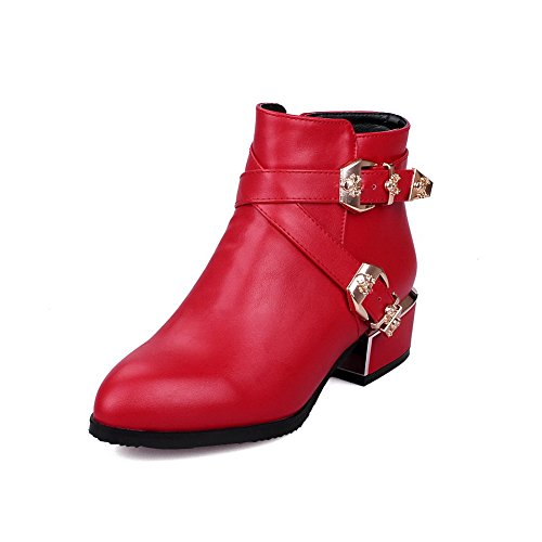 Women's Low-Heels Pointed Closed Toe Pu Low-Top Solid Zipper Boots Red-Zippers 31