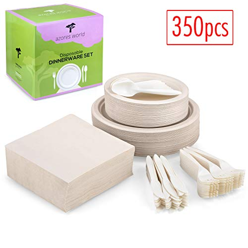 Paper Plates 350-pcs Disposable Dinnerware Set - Eco-Friendly - Compostable - Sugarcane Plates - Cornstarch Cutlery (Forks, Spoons, Knives) - Recycled Paper Napkins - Ideal for BBQ, Party, Picnic (1)