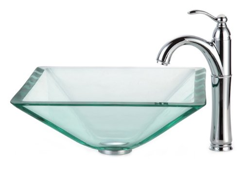 Kraus C-GVS-901-19mm-1005CH Clear Aquamarine Glass Vessel Sink and Riviera Faucet Chrome