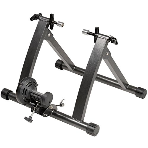 GHP Black Indoor Magnetic Resistance Bicycle Trainer Stand for 26''-28'' Wheel Sizes by Globe House Products (Image #1)