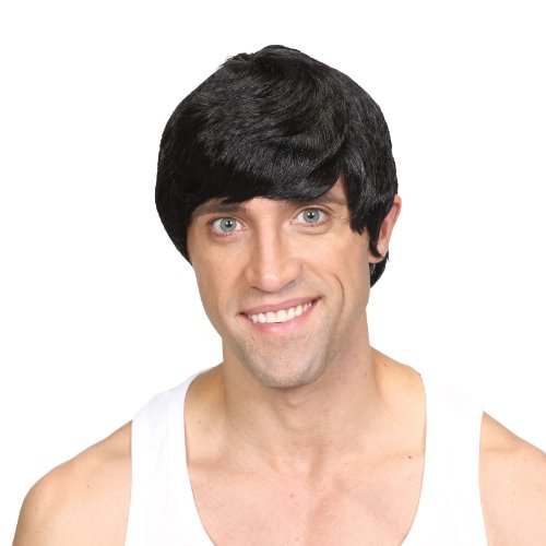 Wicked Costumes Mens Short 60s style Wig Fancy Dress Costume Accessory - Black (Sixties Fancy Dress Costumes)