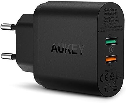 AUKEY - Quick Charge 3.0, cargador universal USB de pared, 2 ...