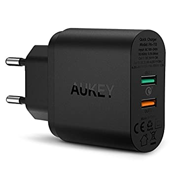 AUKEY - Quick Charge 3.0, cargador universal USB de pared, 2 puertos, 34,5W, para smartphone y tablet como iPhone, iPad, Samsung Galaxy, HTC, LG, ...