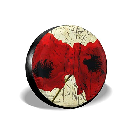 GYGCK Spare Tire Cover,Red Poppy Flower Art Pattern RV Wheel Covers for Jeep Trailer SUV Truck and Many Vehicle with Elastic Hem-Durable Design Keeps Dirt Rain and Sun Away from - 268 Poppy