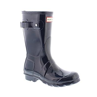 hunter women 39 s original short gloss wellington ankle boots blau navy 3 shoes. Black Bedroom Furniture Sets. Home Design Ideas