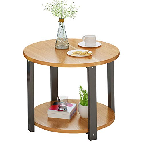 End Cabinet Table Round (Bedside Tables Nightstand Cabinet Bedside Cabinet Table Stackable Side Table Coffee Table Wood End Table Wooden Cabinet Small Round Table Corner Nordic GAOFENG (Color : Red Leaf Maple, Size : 60cm))
