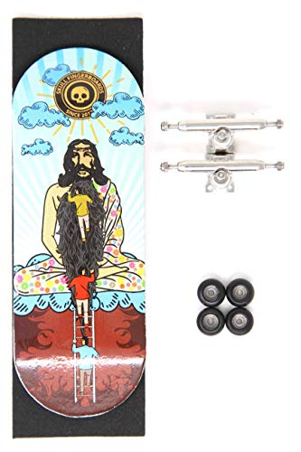 Skull Fingerboards Hippie Jesus 34mm Pro Complete Professional Wooden Fingerboard Mini Skateboard 5 PLY with CNC Bearing Wheels