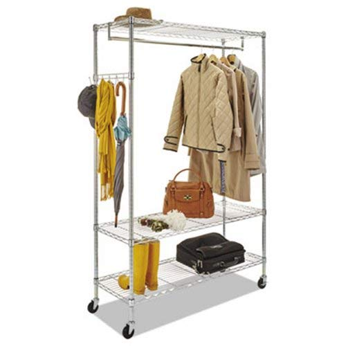 Alera GR364818SR Wire Shelving Garment Rack, Coat Rack, Stand Alone Rack w/Casters, Silver