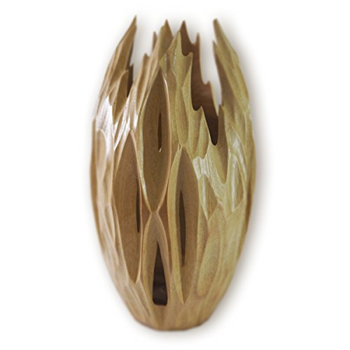 RoRo Wood Oval Gothic Light Brown Vase with Upward Grooves, 10 Inch Medium handcarved