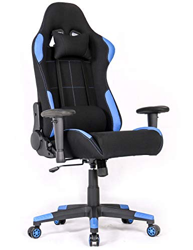Ergonomic Gaming Chair Racing Style Office Chair Recliner Computer Chair with Massage Fabric High-Back E-Sports Chair Height Adjustable Gaming Office Desk Chair - Fabric Massage Chair